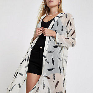 Cream feather print duster jacket
