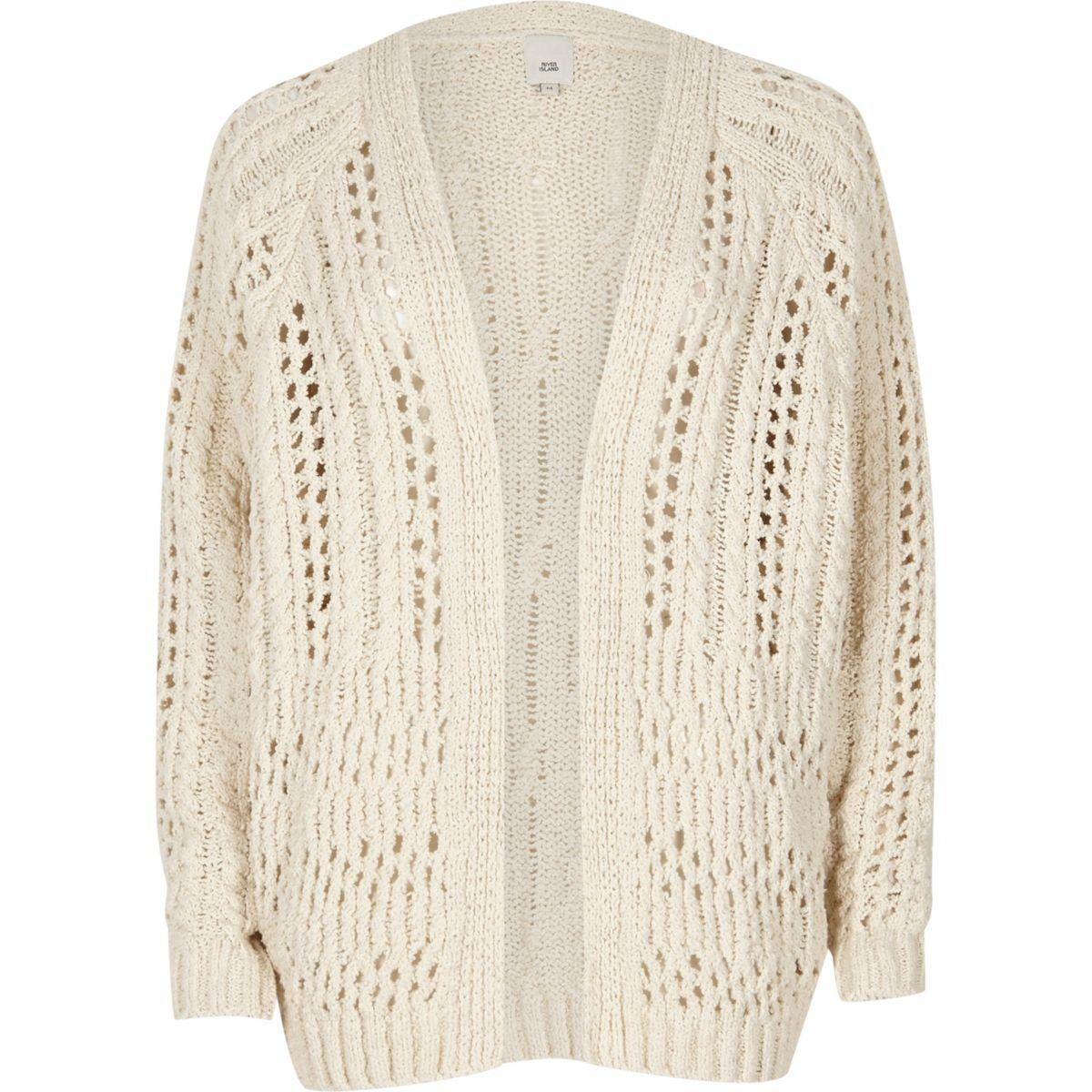 Light cream open knit cardigan - Cardigans - Knitwear - women