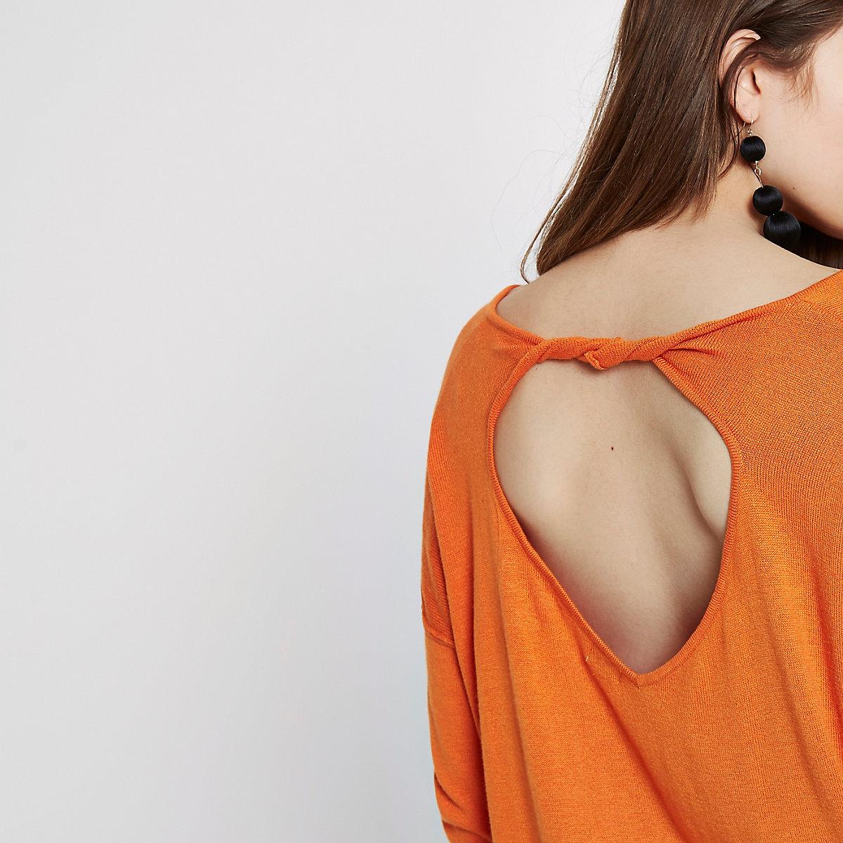 Orange twist back V neck sweater