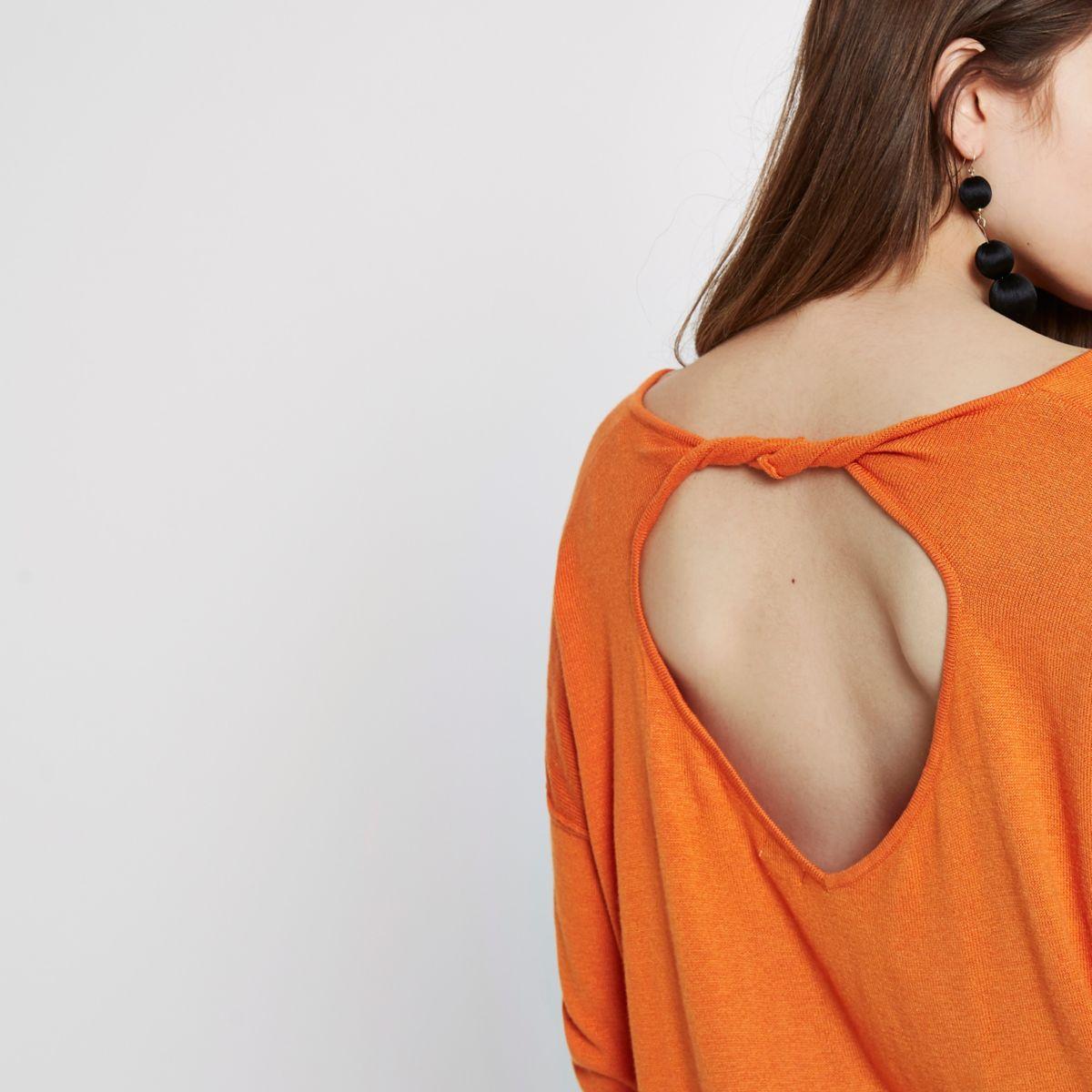 Orange twist back V neck jumper