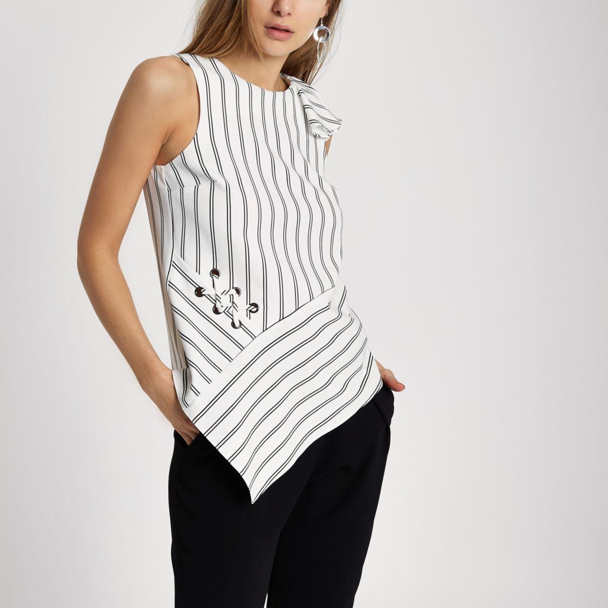 White stripe frill shoulder asymmetric top
