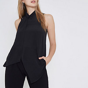 Black twist neck layered front sleeveless top
