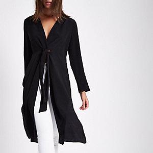 Zwarte lange kimonotop met knoopeffect voor