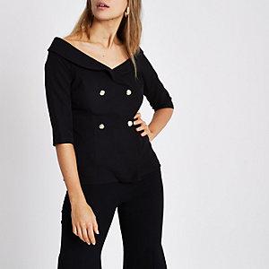 Top style blazer croisé noir à épaules dénudées