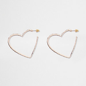 Rose gold tone pave hoop heart earrings