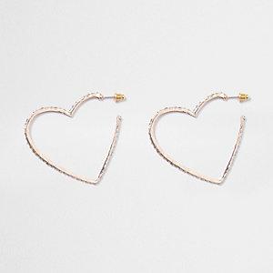 Rose gold tone pave hoop heart earrings