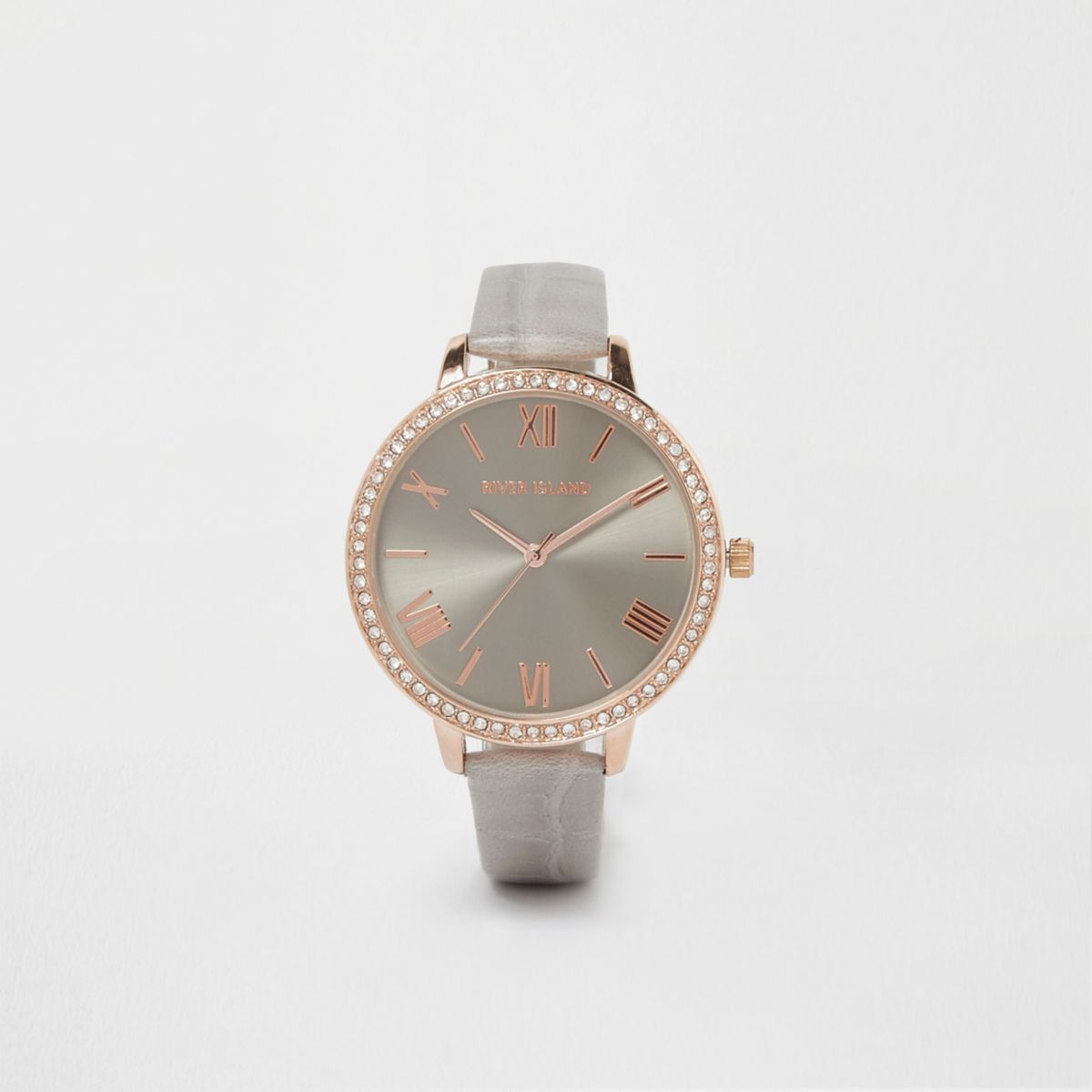 Grey croc embossed strap round face watch