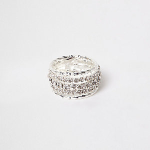 Silver tone rhinestone encrusted ring