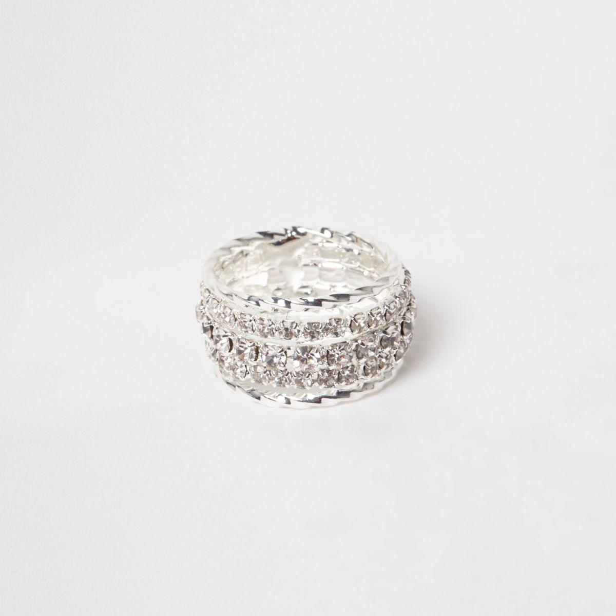 Silver tone diamante encrusted ring