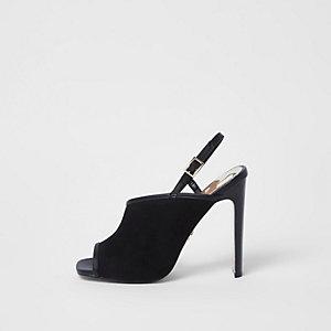 Black asymmetric slim heel shoes