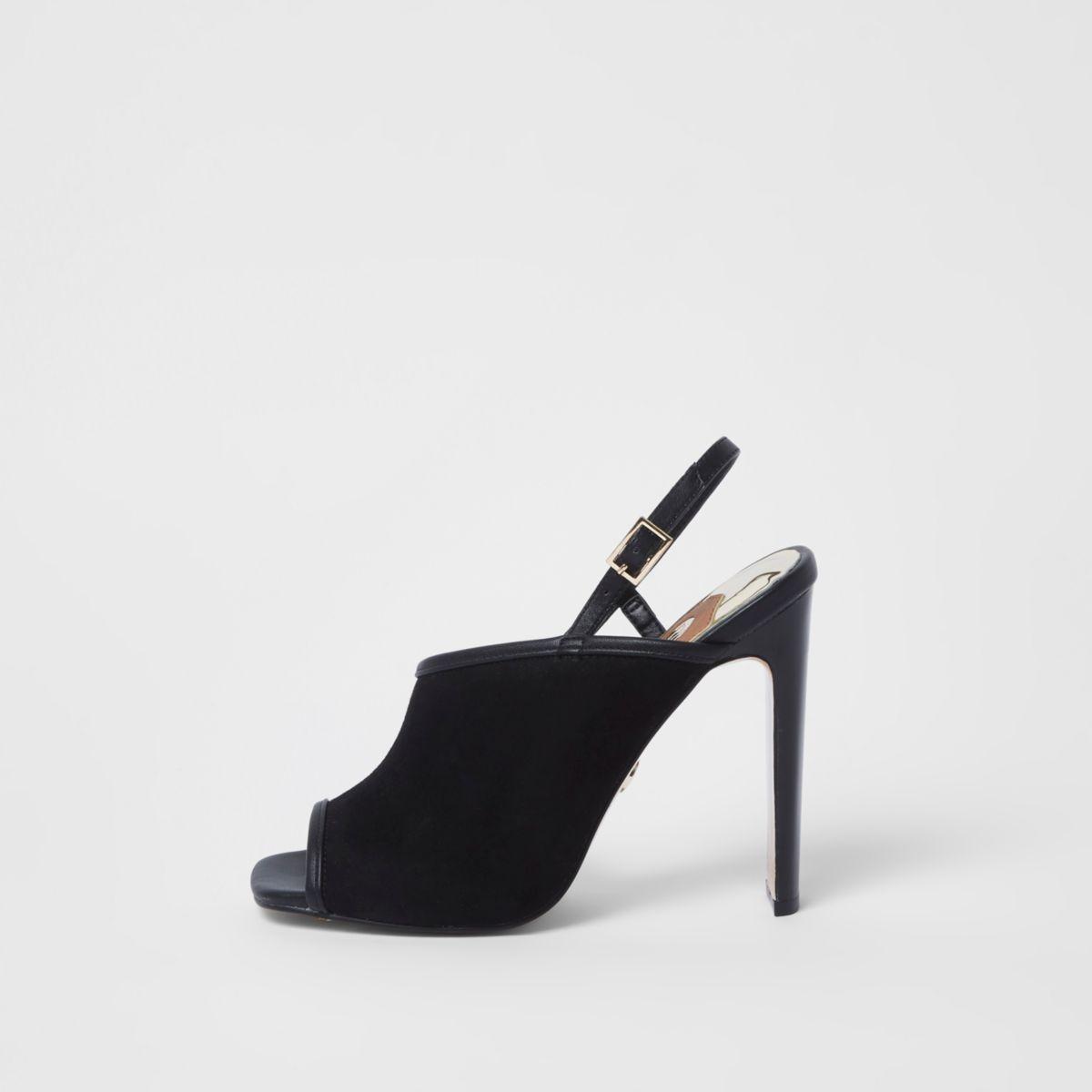 River Island Chaussures asymétriques noires à talon fin