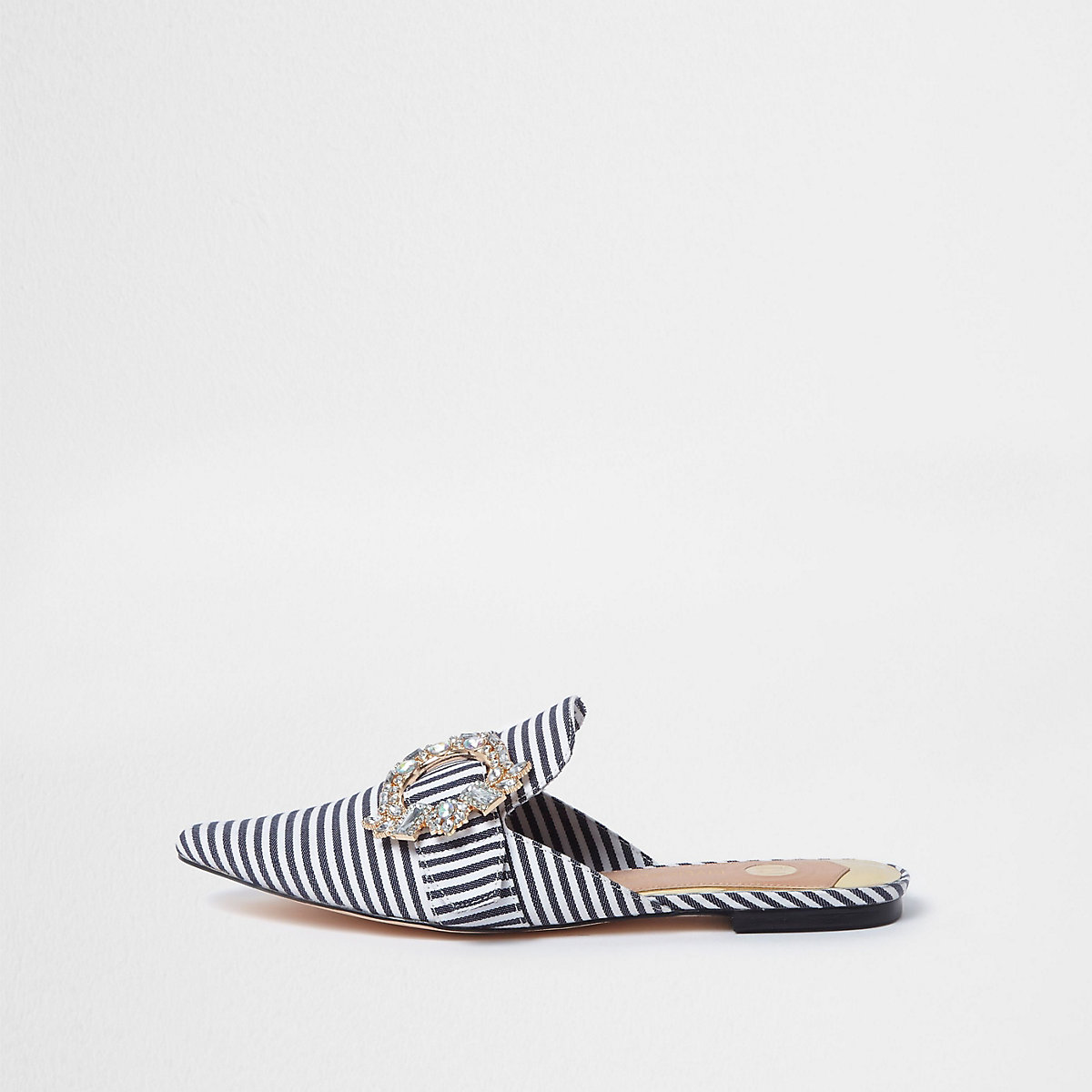White stripe wide fit backless loafers