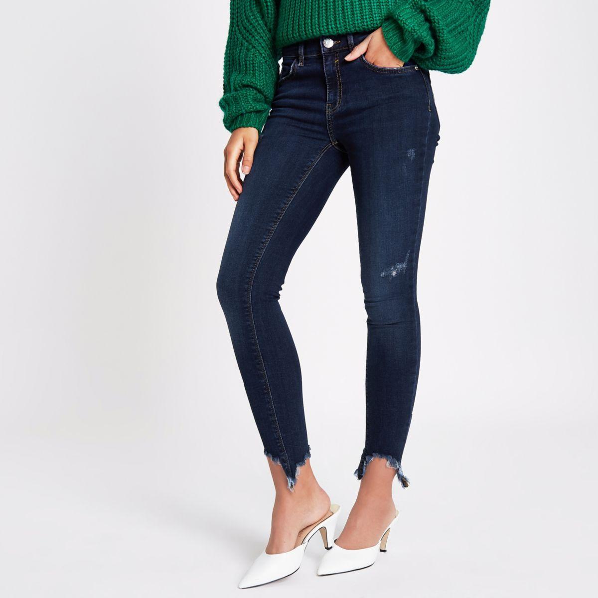 Amelie – Blaue Superskinny Jeans im Used Look