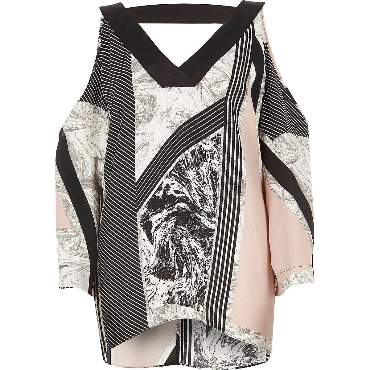 Beige stripe marble print cold shoulder top