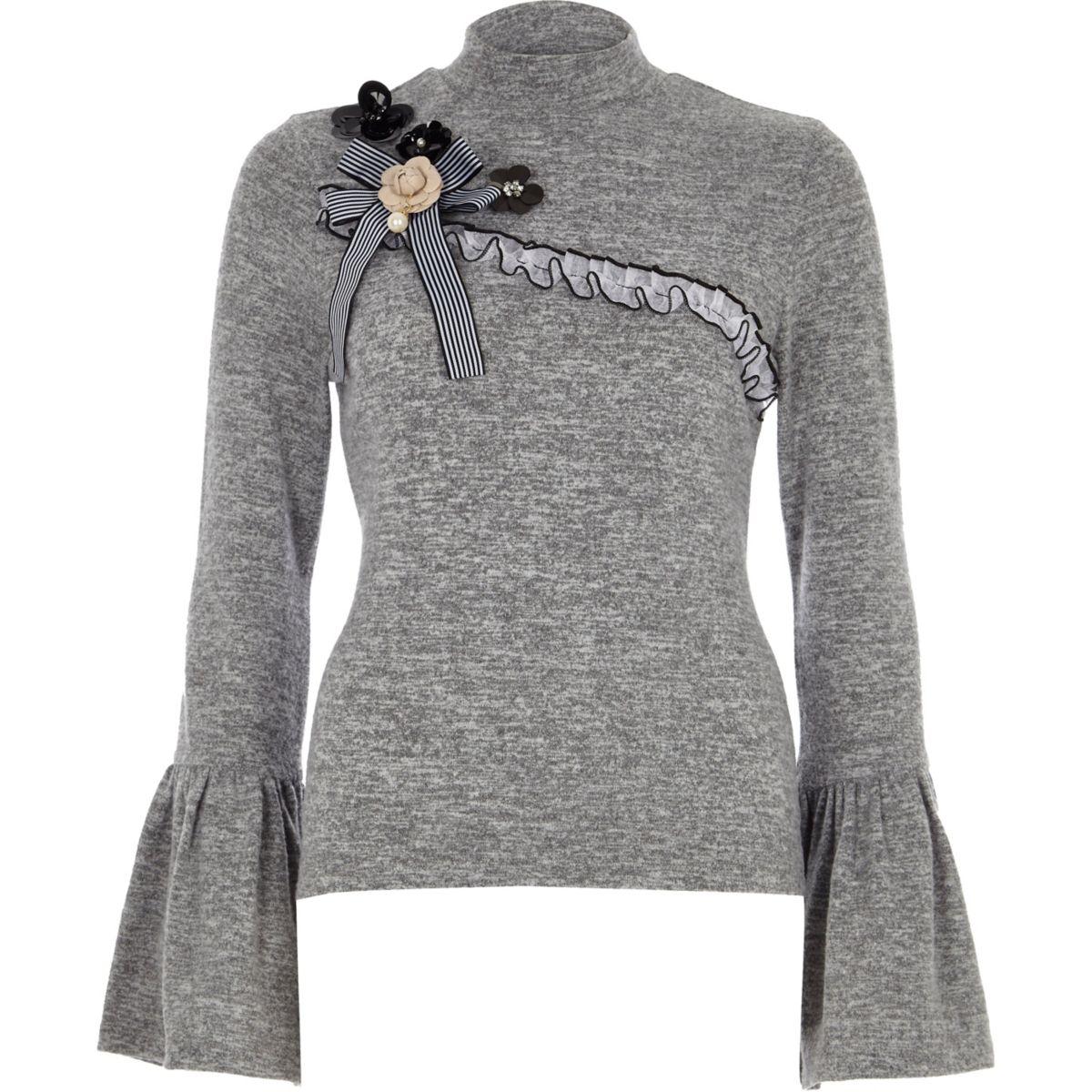 Grey high neck frill sleeve embellished top