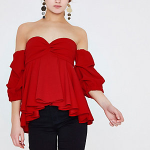 Red bardot puff sleeve peplum top