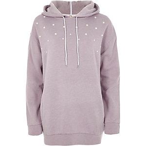 Lilac faux pearl stud longline hoodie