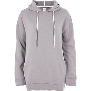 Sweat long gris clair à capuche
