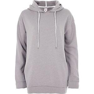 Lichtgrijze lange hoodie