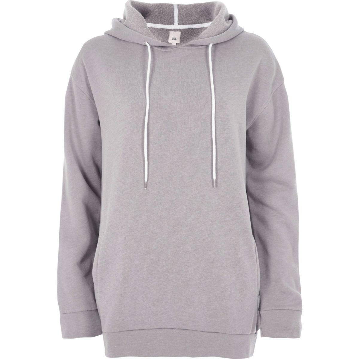 Light grey longline hoodie