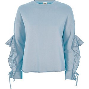 Light blue broderie sleeve detail sweatshirt