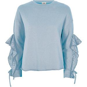 Lichtblauw sweatshirt met broderie aan de mouwen