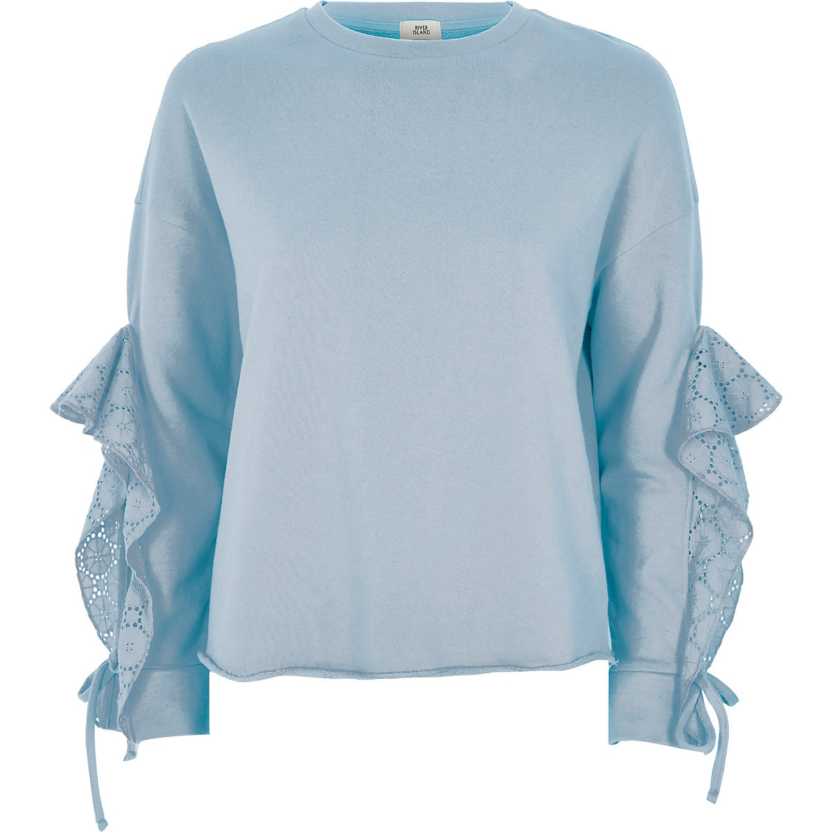 Light blue broderie sleeve detail sweatshirt
