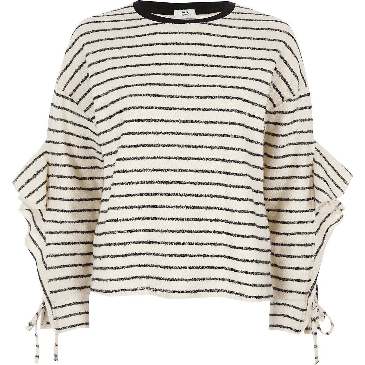 Cream stripe lfrill sleeve sweatshirt