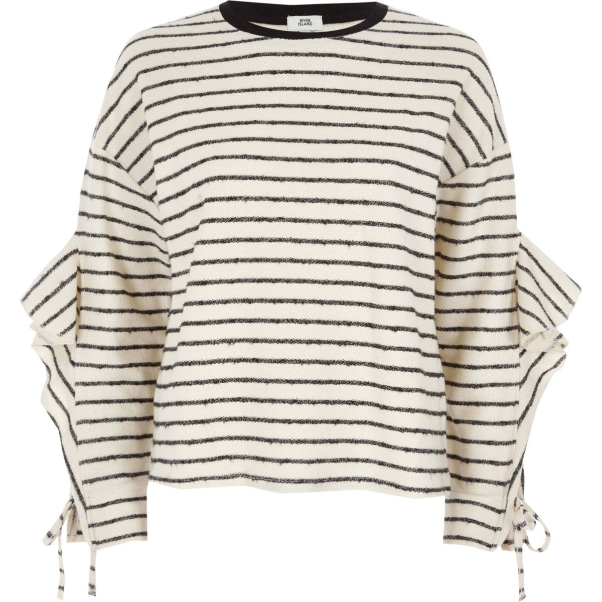Cream stripe lfrill sleeve sweatshirt
