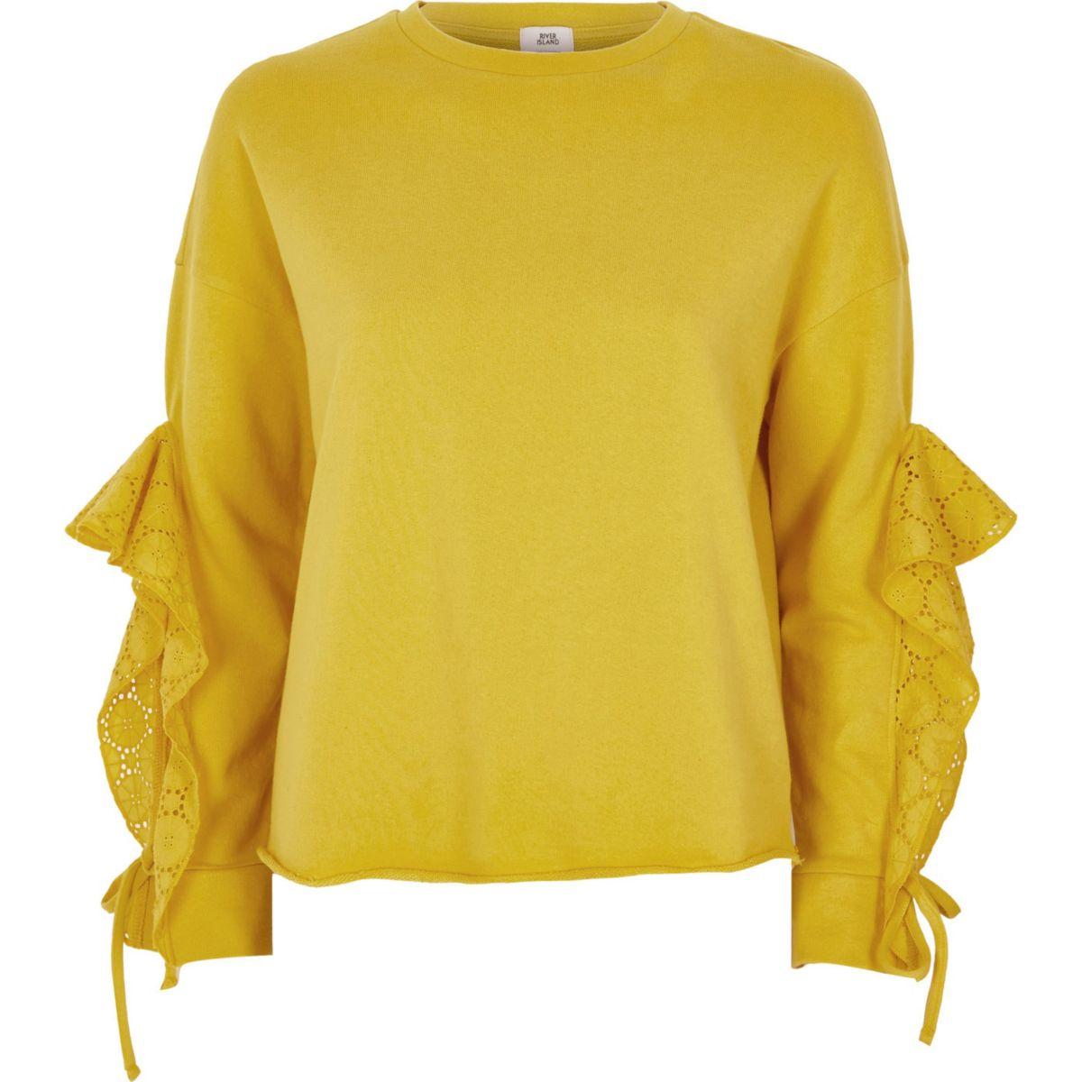 Yellow broderie frill sleeve sweatshirt