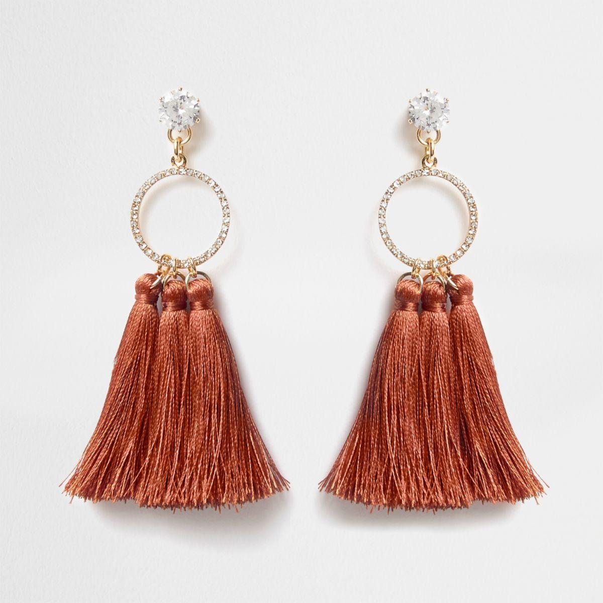 Orange rhinestone circle tassel drop earrings