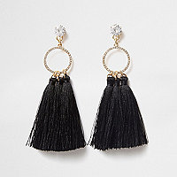 Black rhinestone circle tassel drop earrings