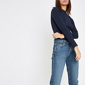 Navy rib high neck long sleeve top