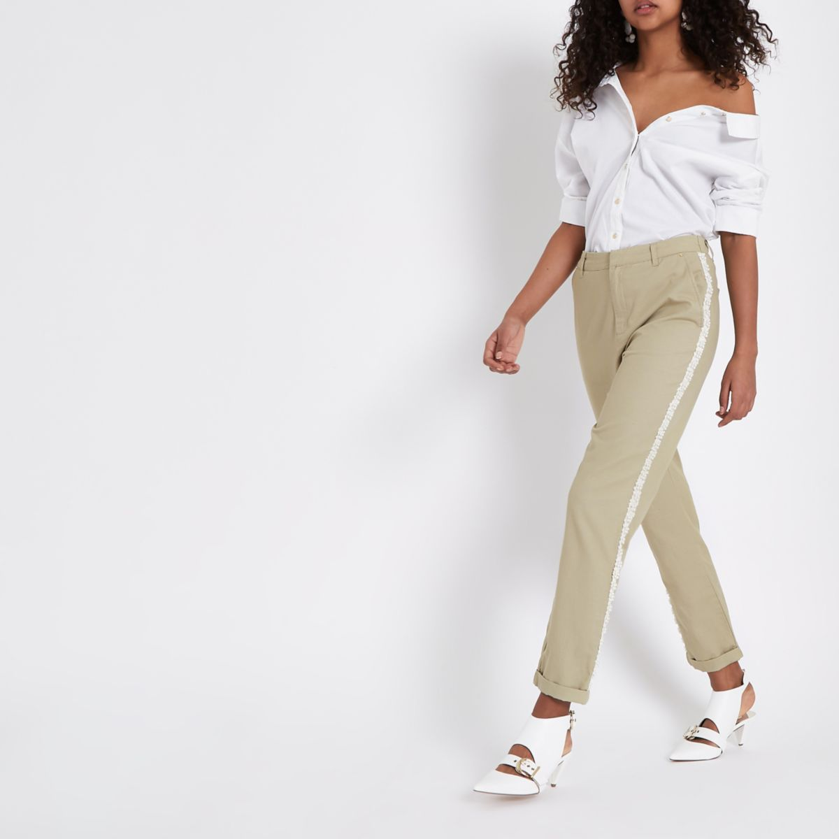 Beige Pearl Embellished Trim Chino Pants by River Island