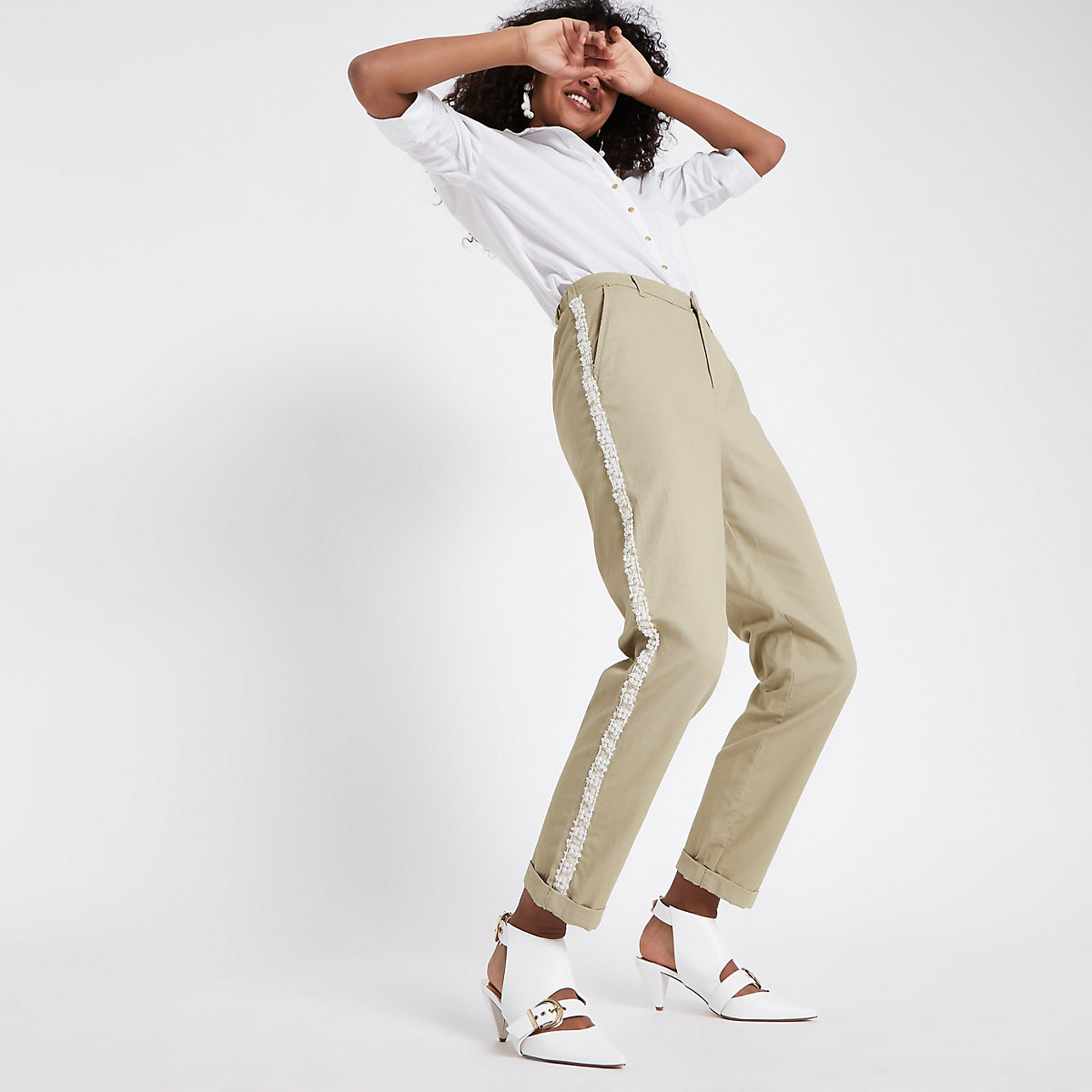 Beige pearl embellished trim chino trousers