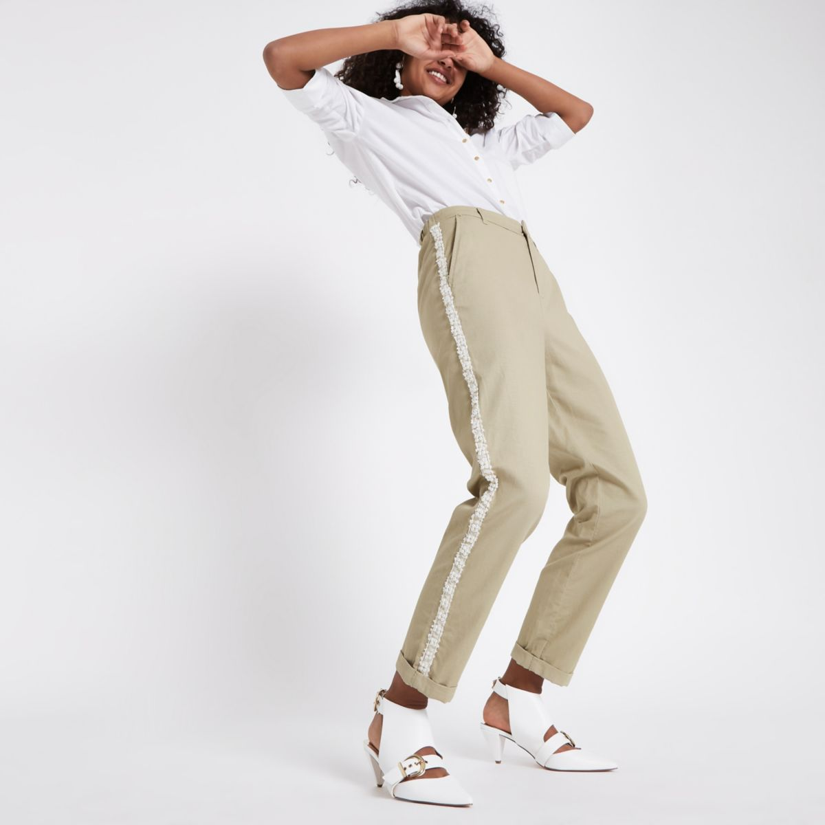 Beige pearl embellished trim chino pants
