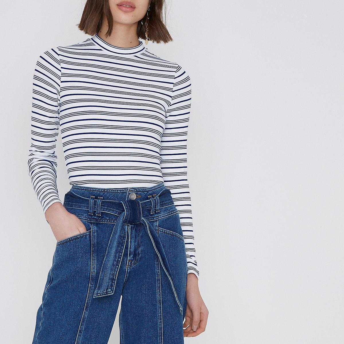 Blue stripe print high neck long sleeve top