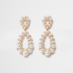 Gold tone faux pearl teardrop earrings