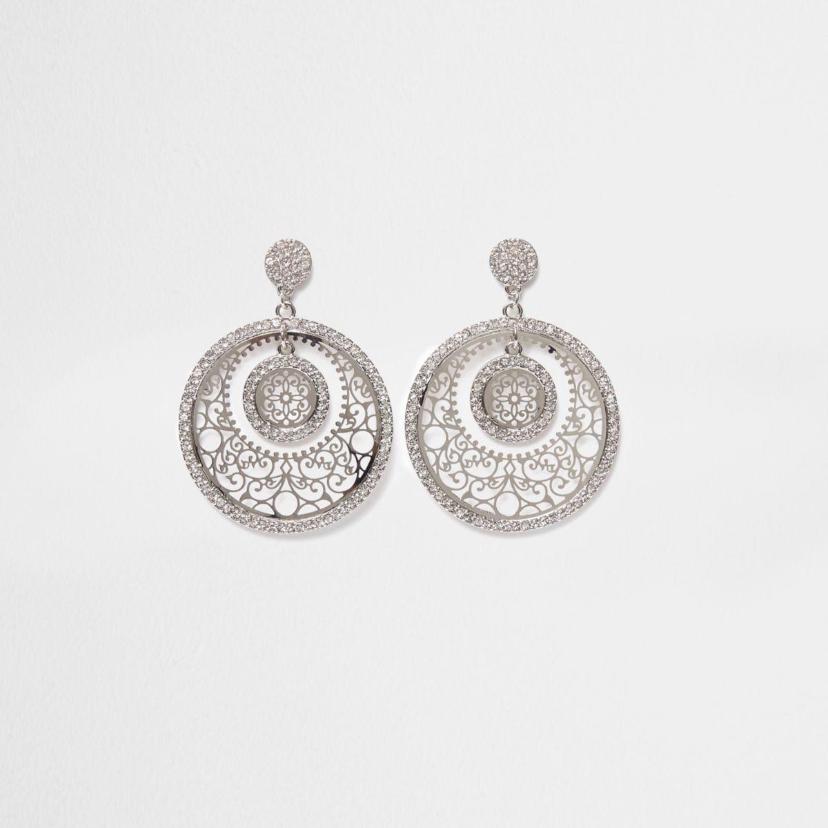 Silver tone filigree disc drop earrings
