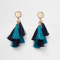 Blue multi tassel diamante disk earrings