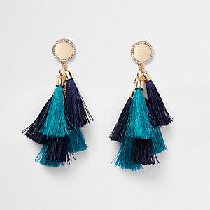 Blue multi tassel rhinestone disk earrings