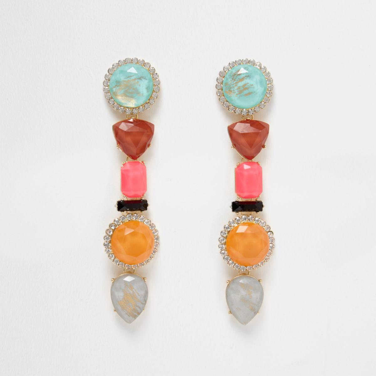 Pink multi colour mixed jewel dangle earrings