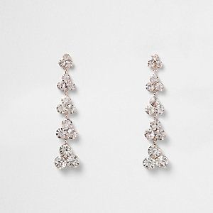 Rose gold tone diamante dangle earrings