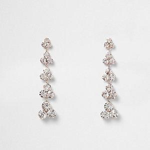 Rose gold tone rhinestone dangle earrings