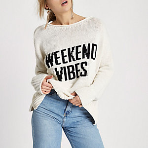 Cream 'weekend vibes' rolled crew neck jumper
