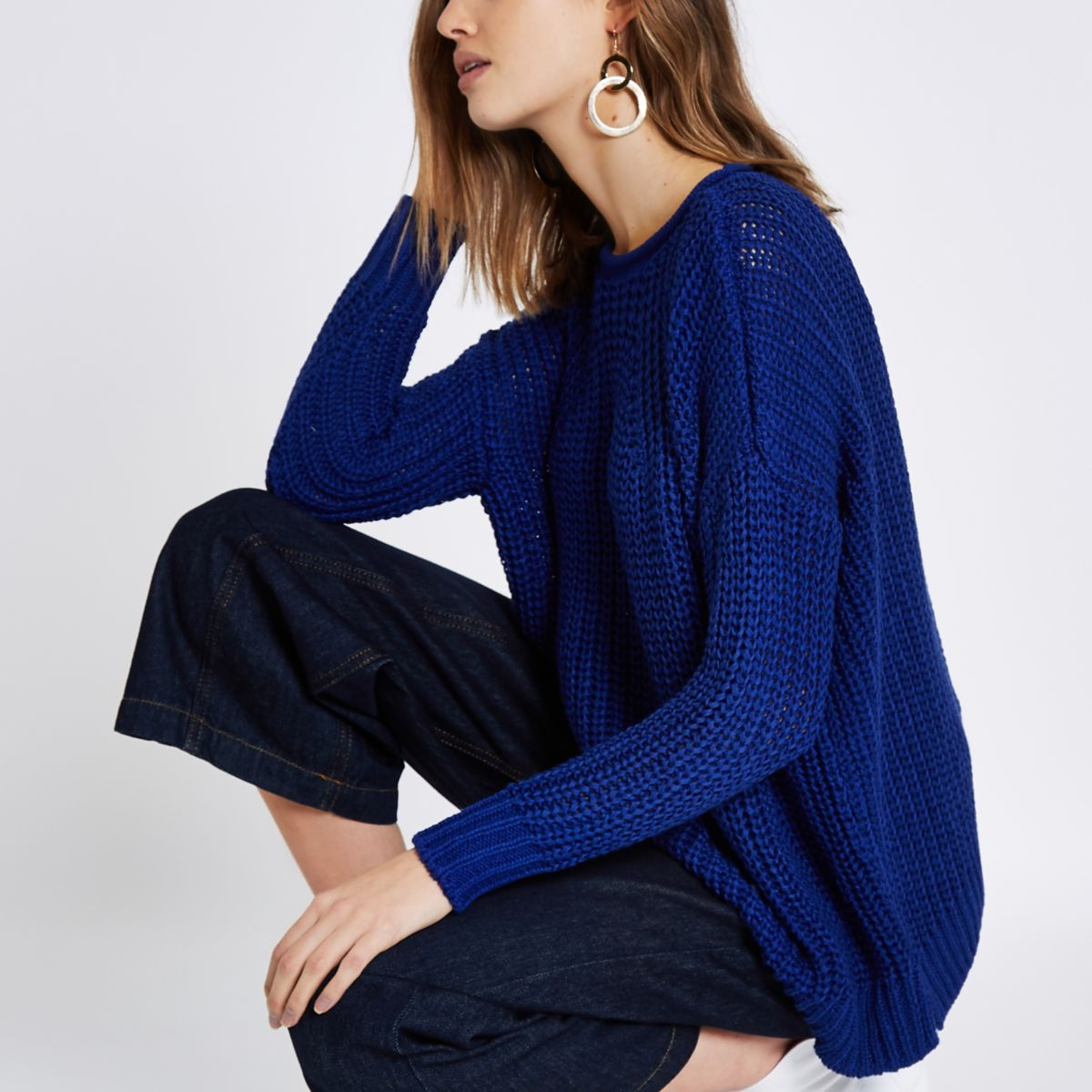Blue rolled crew neck fisherman jumper