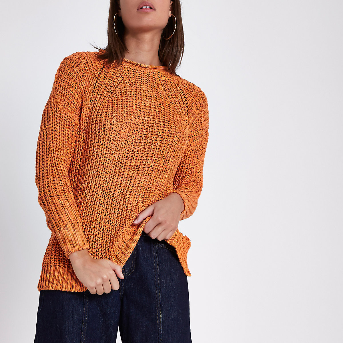Orange rolled crew neck fisherman sweater