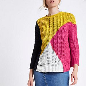 Gele grofgebreide pullover met kleurvlakken