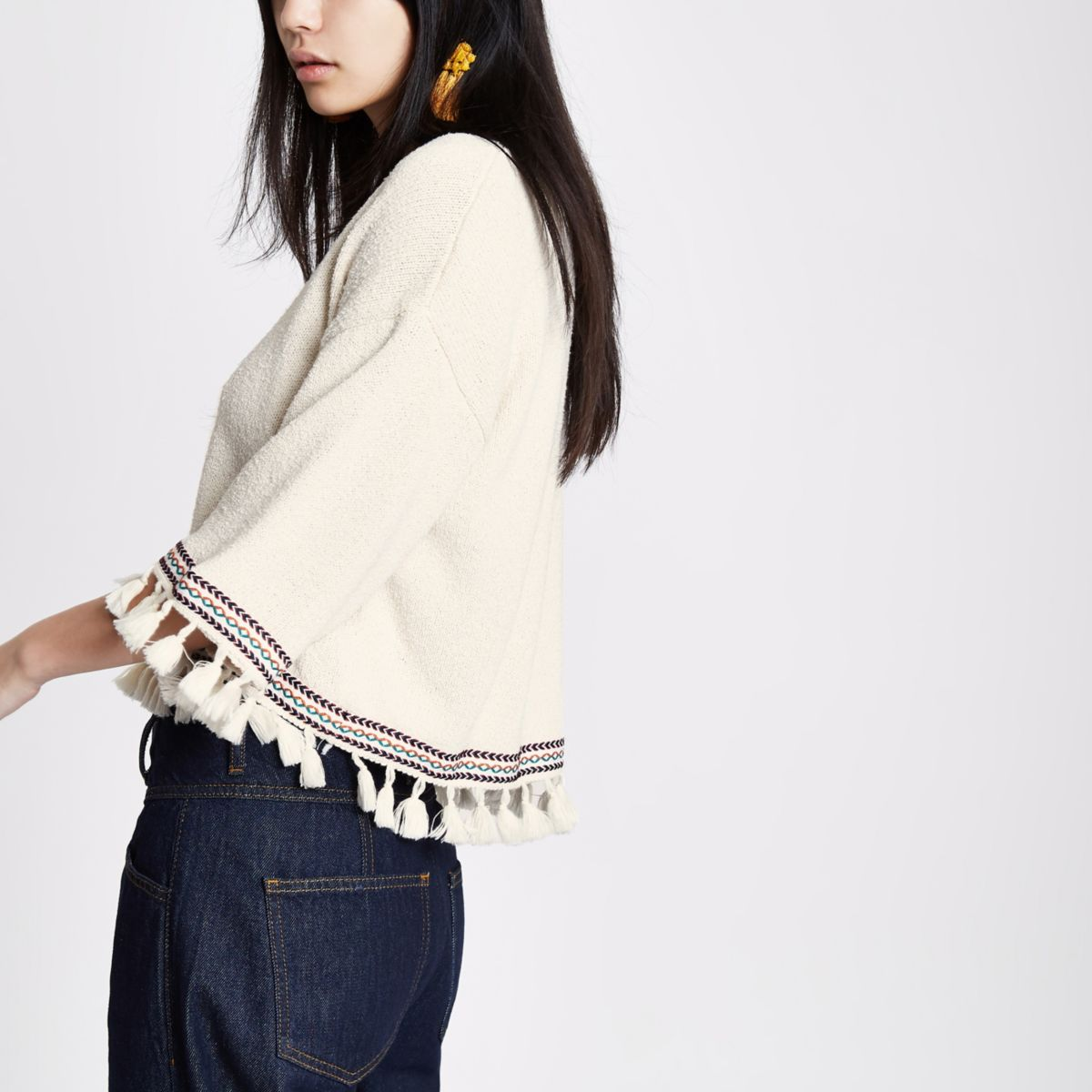 Cream aztec tassel trim wide sleeve sweater