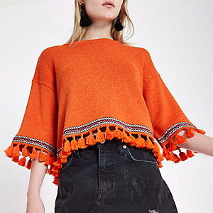 Orange aztec tassel trim wide sleeve jumper